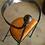 Thumbnail: כסא מתכת עם מושב עץ/עור - כסא מלך