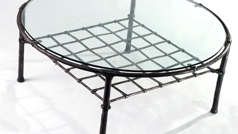 שולחן סלוני מברזל וזכוכית + קומת אחסון