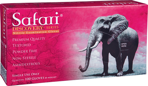Safari Pink Nitrile Powder Free Textured Exam Gloves