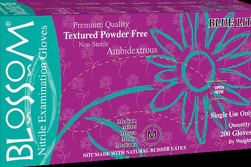 Blossom Blue Lite Nitrile Powder Free Textured Exam Gloves