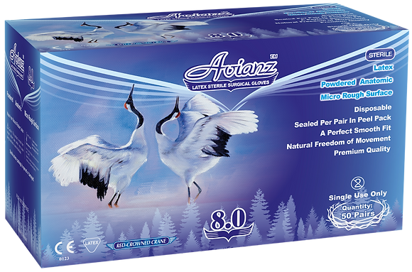 Avianz Latex Powdered Textured Sterile Surgical Gloves - 280mm (NON-USA)