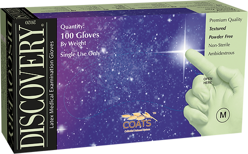 Discovery Latex Powder Free Textured Exam Gloves with C.O.A.T.S