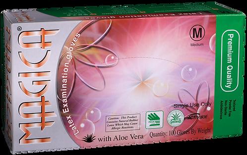 Magica Latex Powder Free Textured Exam Gloves with Aloe Vera