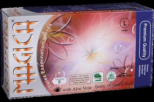 Magica Latex Powder Free Textured Exam Gloves with Aloe Vera + Vitamin E
