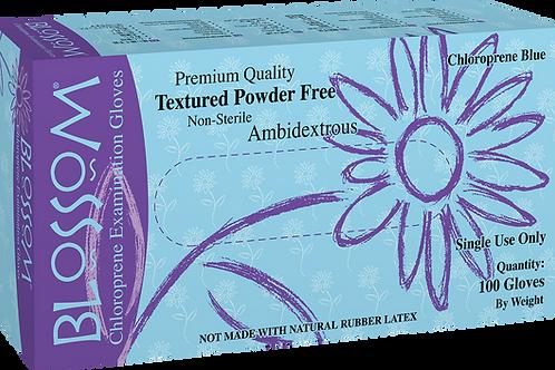 Blossom Light Blue Chloroprene Powder Free Textured Exam Gloves