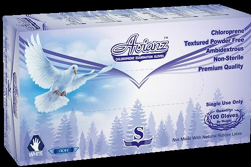 Avianz White Chloroprene Powder Free Textured Exam Gloves