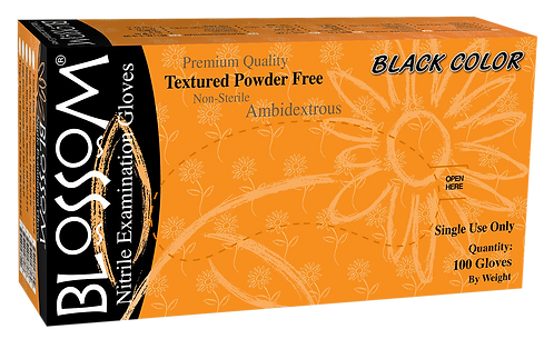 Blossom Black Nitrile Powder Free Textured Exam Gloves