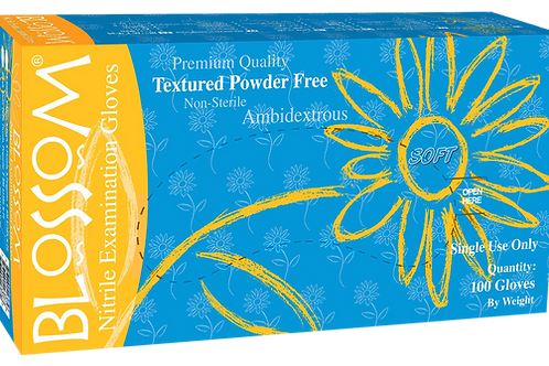 Blossom Soft Blue Nitrile Powder Free Textured Exam Gloves