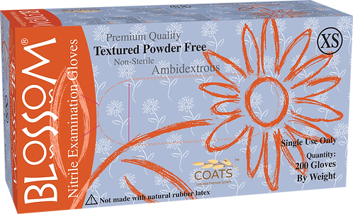 Blossom Nitrile Powder Free Textured Exam Gloves with C.O.A.T.S.