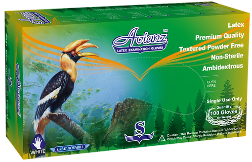 Avianz Latex Powder Free Textured Exam Gloves