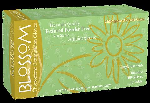 Blossom Avocado Green Chloroprene Powder Free Textured Exam Gloves