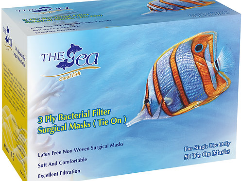 The Sea 3 PLY Bacterial Filter Surgical Mask (Tie On)