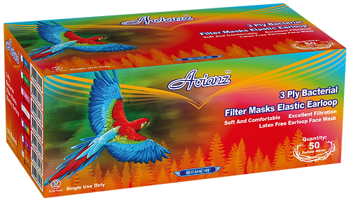 Avianz 3 PLY Latex Free Facemask Round Elastic (Earloop)