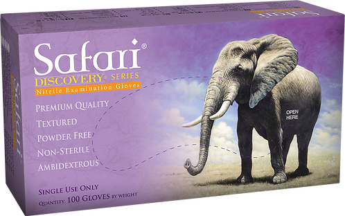 Safari Lila Nitrile Powder Free Textured Exam Gloves (Non-USA)