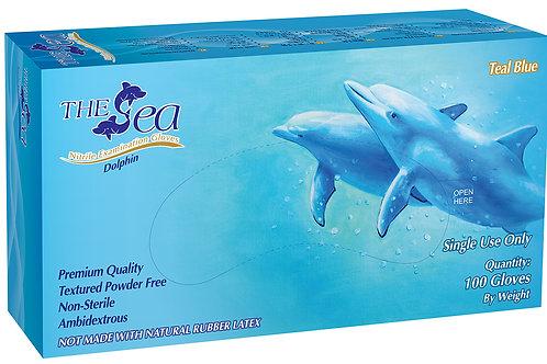 The Sea Teal Blue Nitrile Powder Free Textured Exam Gloves