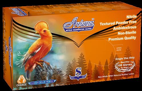 Avianz Orange Nitrile Powder Free Textured Exam Gloves