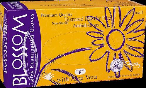 Blossom Latex Powder Free Textured Exam Gloves with Aloe Vera + Vitamin E