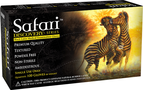 Safari Black Latex Powder Free Textured Exam Gloves