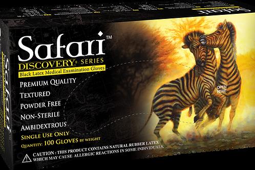 Safari Black Latex Powder Free Textured Exam Gloves