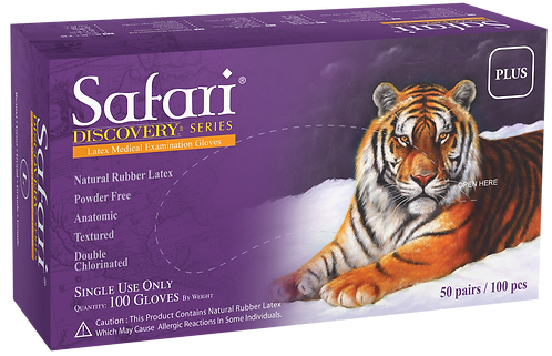 Safari Double Chlorinated Latex Powder Free Textured Exam Gloves