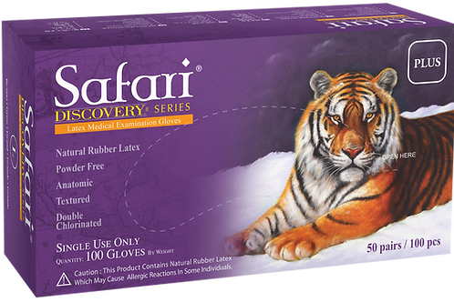 Safari Double Chlorinated Latex Powder Free Textured Exam Gloves