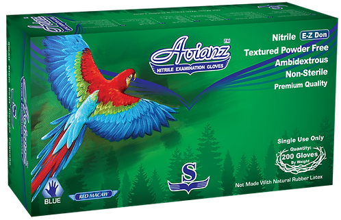 Avianz E-Z Don Blue Nitrile Powder Free Exam Gloves