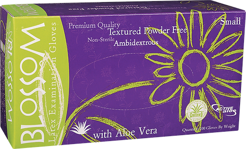 Blossom Latex Powder Free Textured Exam Gloves with Aloe Vera