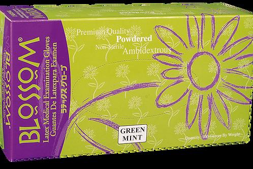 Blossom Green Mint Latex Powdered Exam Gloves (NON-USA)