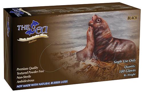 The Sea Black Nitrile Powder Free Textured Exam Gloves