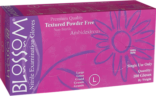 Blossom Lila Nitrile Powder Free Textured Exam Gloves
