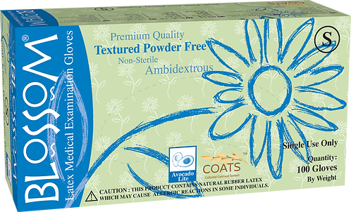 Blossom Latex Powder Free Textured Exam Gloves with C.O.A.T.S.