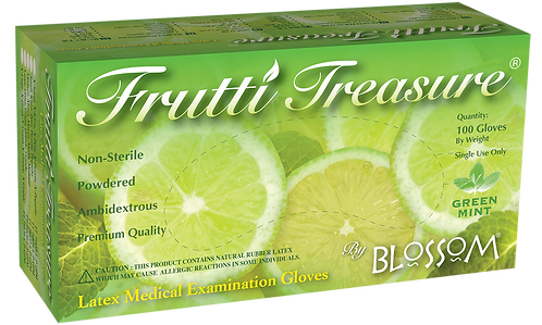 Frutti Treasure Green Mint Latex Powdered Exam Gloves (NON-USA)
