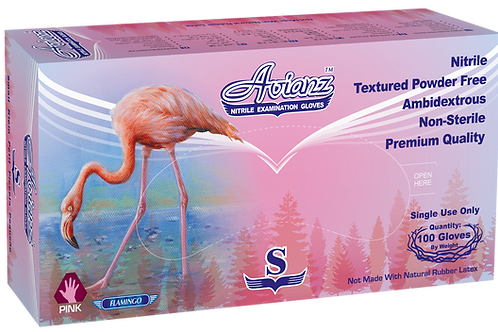 Avianz Pink Nitrile Powder Free Textured Exam Gloves