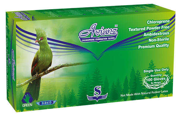 Avianz Green Chloroprene Powder Free Textured Exam Gloves