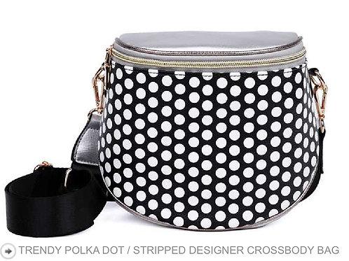 BLACK TRENDY POLKA DOT / DESIGNER CROSSBODY BAG