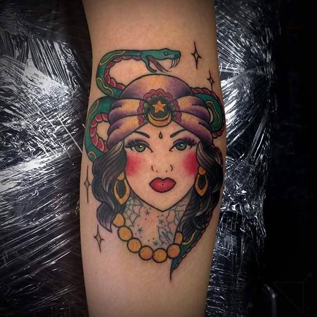 Traditional gypsy girl tattoo by Rosa Laguna