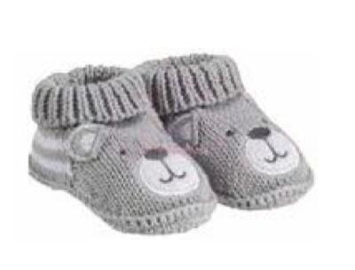 ZNB14 Zapatitos Crochet Osito Gris