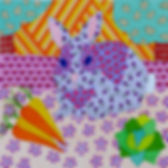 A lavender rabbit sits with his carrots & cabbage by Grace Palmieri