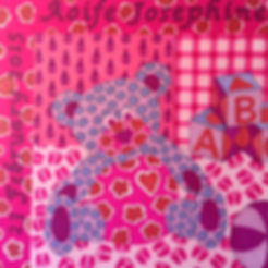 A pink teddy print from an original by Grace Palmieri.  Personalisation available.