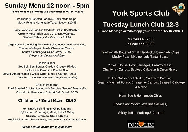 Sunday Menu & Tuesday Lunch Club 12-3 -