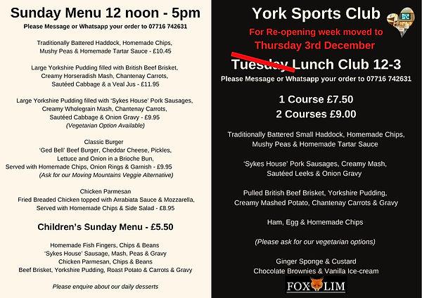 Sunday Menu & Tuesday Lunch Club 12-3 -
