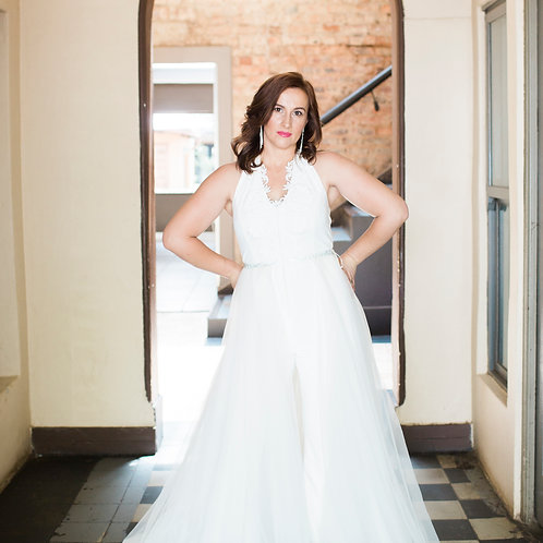 Bridal halter-neck jumpsuit