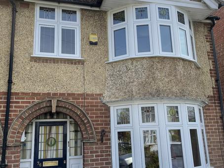 Stylish flush windows in smooth white PVC