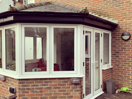 PVC conservatory with Flush windows