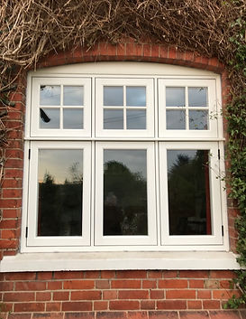 Flush windows with cross bars above