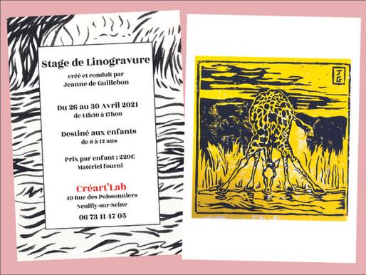 Stage de dessin et linogravure du 26 au 30 avril 2021