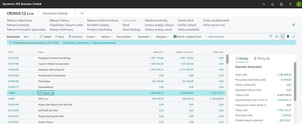 Seznam dodavatelů a jejich finanční statistiky.