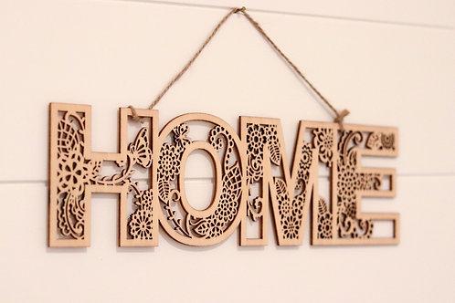HOME- WOODEN PLAQUE 29 cm