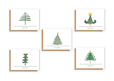 CHRISTMAS TREES - PACK OF FIVE CARDS