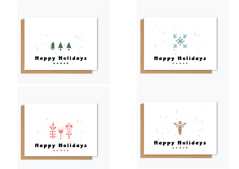 HAPPY HOLIDAYS -PACK OF FOUR CARDS